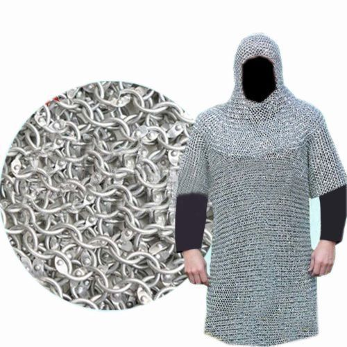 Round Riveted Aluminium Chain Mail Coif Medieval Armour Chainmail Hood Aluminum