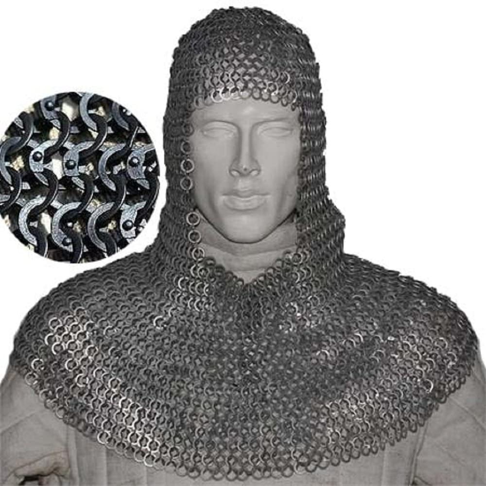 Flat Riveted With Flat Warser Chain mail shirt 9 mm Medieval Coif //Hood